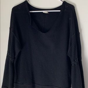 Black We The Free Bell Sleeve Waffle Knit Top